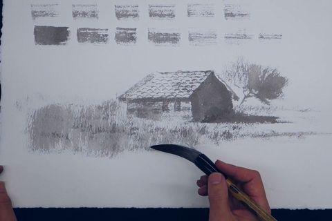 篠原貴之水墨画塾 小屋を描く