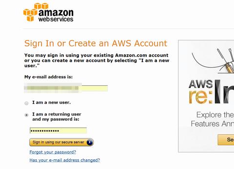 amazon AWS account サインイン