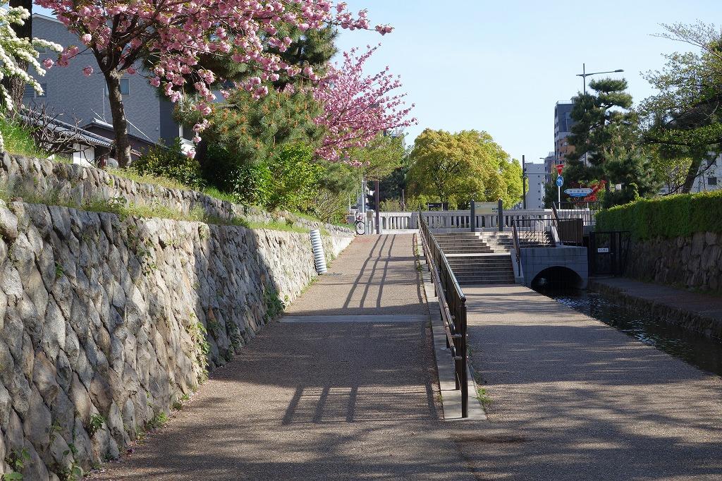 京都 堀川の遊歩道 スロープと階段