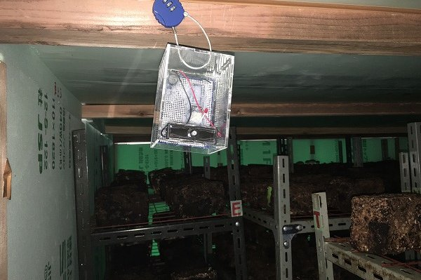 マイコン温湿度計 子機 しいたけ栽培施設内