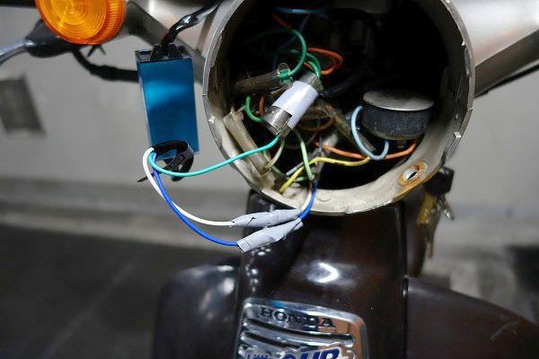 ホンダカブ LEDライト配線