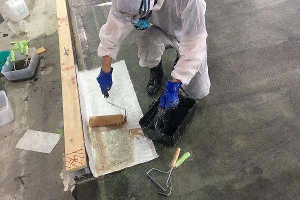 しいたけ栽培設備 FRP防水 ポリエステル樹脂塗布