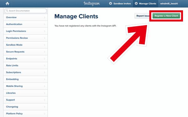Instagram API Register a New Client