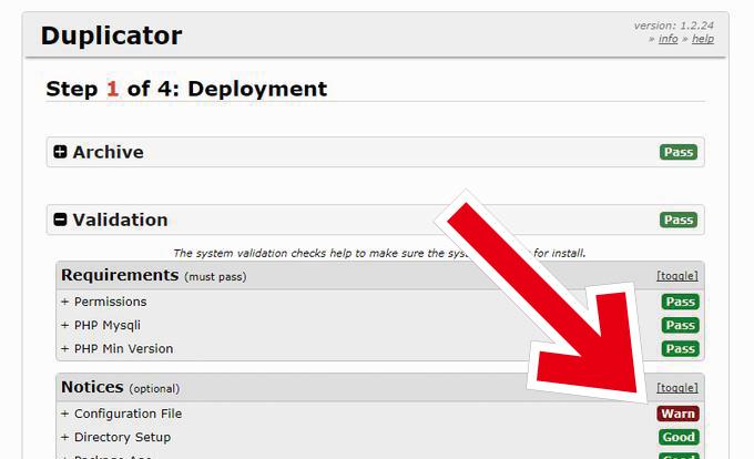 Duplicator システムスキャンのエラー