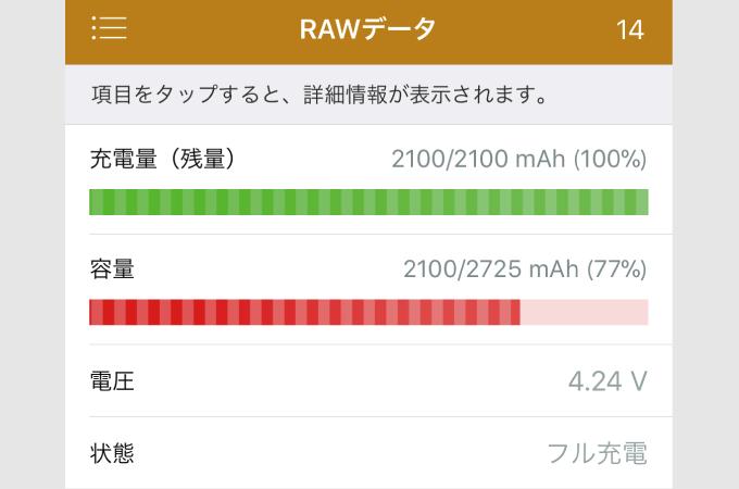 バッテリーライフ RAWデータ