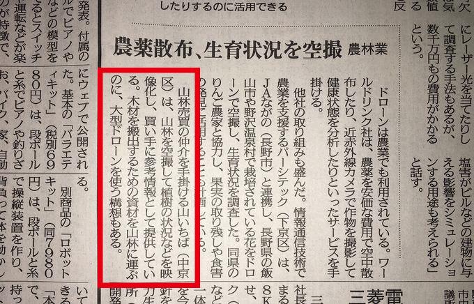山いちば 京都新聞ドローン活用記事