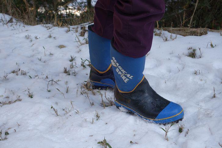 スパイク長靴 雪山