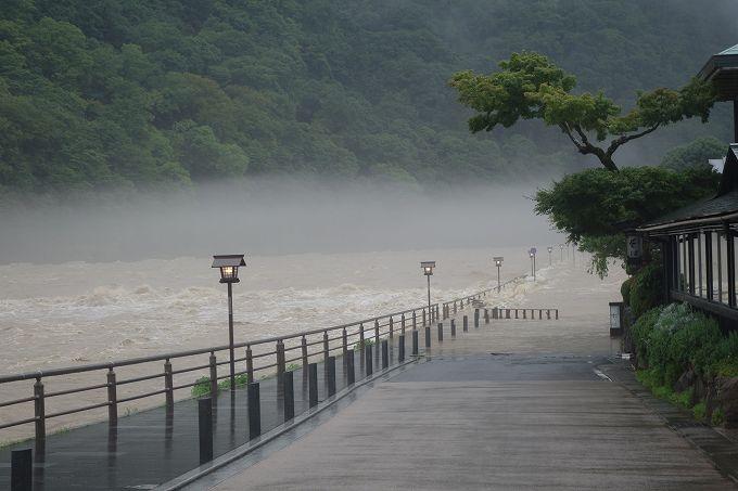 桂川 浸水した道