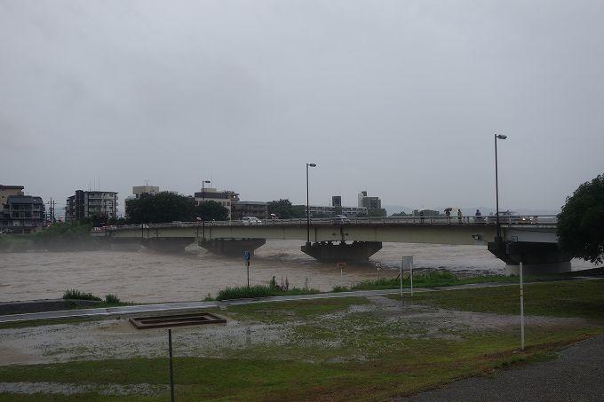 増水した桂川 松尾橋
