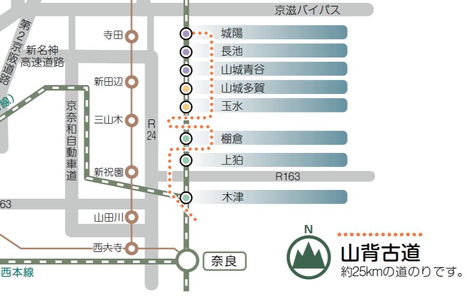 山背古道案内図