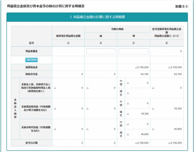 全力法人税 利益積立金額の計算に関する明細書