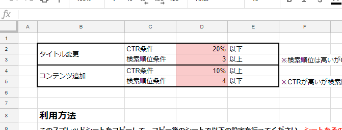 リライト自動判定ツール CTR条件と検索順位条件