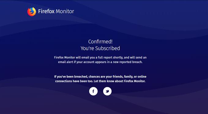 Firefox Monitor 登録完了