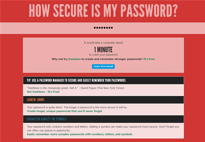 HOW SECURE IS MY PASSWORD? 警告