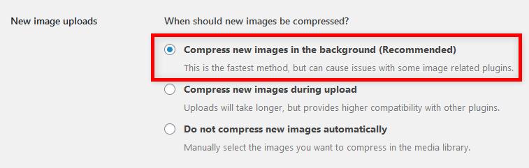 Compress JPEG & PNG images 画像圧縮タイミング設定